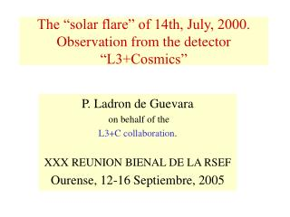 "The ""solar flare"" of 14th, July, 2000. Observation from the detector ""L3+Cosmics"""
