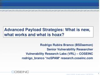 Advanced Payload Strategies: What is new, what works and what is hoax?