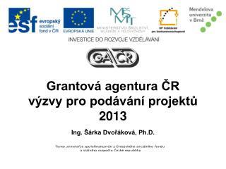 Grantová agentura ČR  výzvy pro podávání projektů 2013