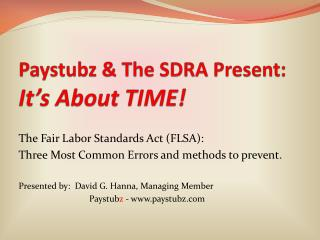 Paystubz & The SDRA Present: It's About TIME!