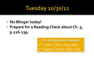 Tuesday 10/30/12