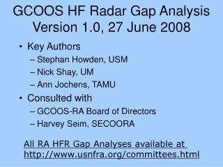 GCOOS HF Radar Gap Analysis Version 1.0, 27 June 2008