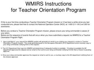 WMIRS Instructions  for Teacher Orientation Program
