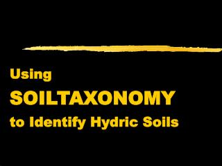 Using  SOILTAXONOMY to Identify Hydric Soils