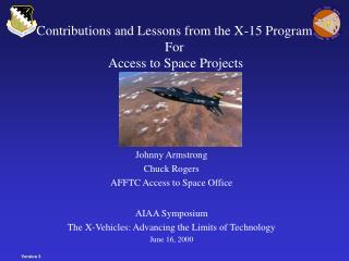 Contributions and Lessons from the X-15 Program For  Access to Space Projects