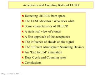 Acceptance and Counting Rates of EUSO