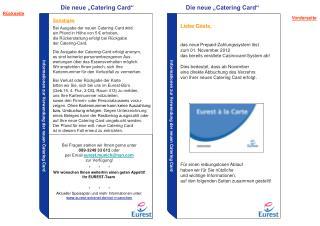 Informationen zur Verwendung der neuen Catering Card
