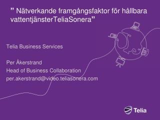 """""""  Nätverkande framgångsfaktor för hållbara vattentjänsterTeliaSonera """""""