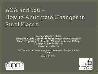 ACA and You – How to Anticipate Changes in Rural Places
