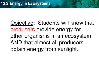 KEY CONCEPT  Life in an ecosystem requires a source of  energy .
