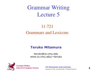 Grammar Writing Lecture 5