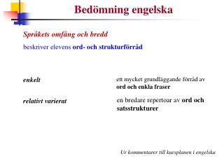 Bedömning engelska