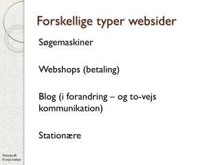 Forskellige typer websider