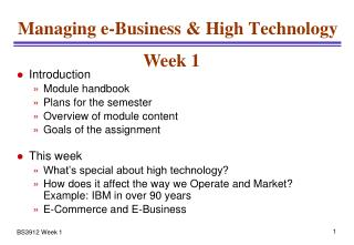 Managing e-Business & High Technology