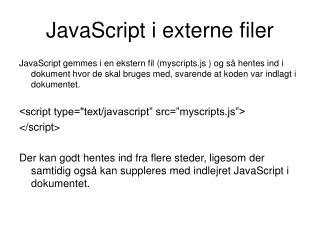 JavaScript i externe filer