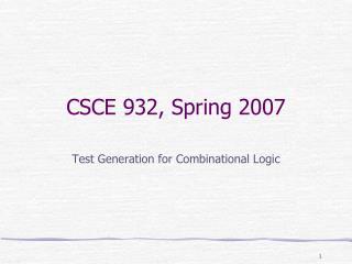 CSCE 932, Spring 2007