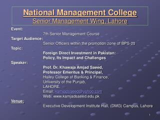 National Management College Senior Management Wing, Lahore