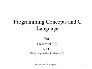 Programming Concepts and C Language