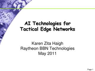 AI Technologies for Tactical Edge Networks