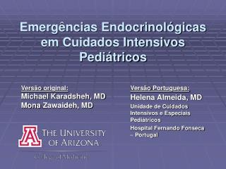 Emerg ncias Endocrinol gicas em Cuidados Intensivos Pedi tricos