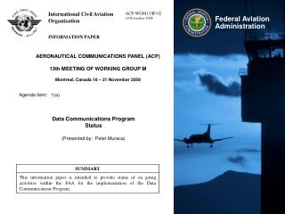 AERONAUTICAL COMMUNICATIONS PANEL (ACP) 13th MEETING OF WORKING GROUP M