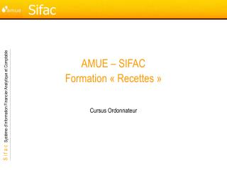 AMUE � SIFAC Formation ��Recettes��