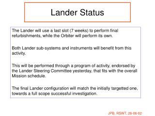 Lander Status