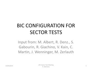 BIC CONFIGURATION FOR SECTOR TESTS
