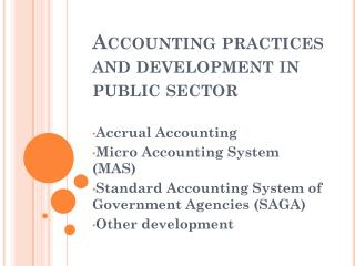 Accounting practices and development in public sector