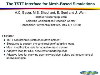 The TSTT Interface for Mesh-Based Simulations