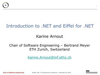 Introduction to .NET and Eiffel for .NET