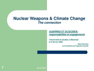 Nuclear Weapons & Climate Change The connection