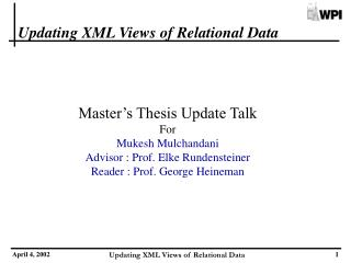 Updating XML Views of Relational Data