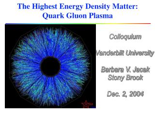 The Highest Energy Density Matter:  Quark Gluon Plasma