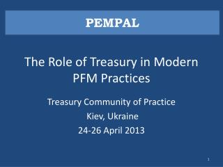 The Role of Treasury in Modern PFM Practices