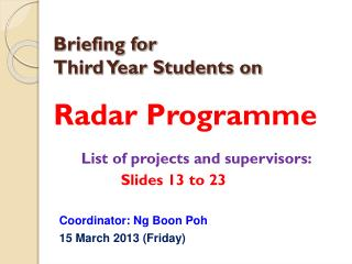 Briefing for Third Year Students on