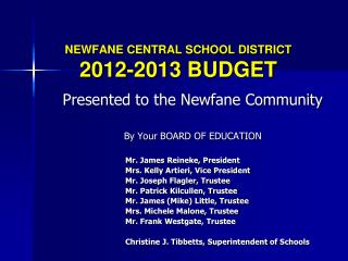 NEWFANE CENTRAL SCHOOL DISTRICT 2012-2013 BUDGET