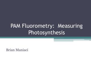 PAM Fluorometry:  Measuring Photosynthesis