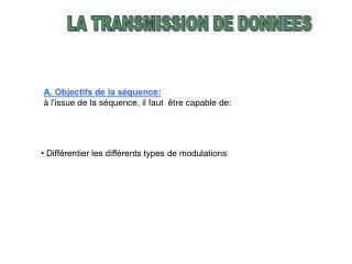 LA TRANSMISSION DE DONNEES