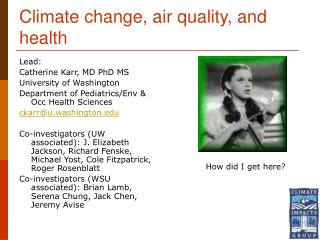 Climate change, air quality, and health