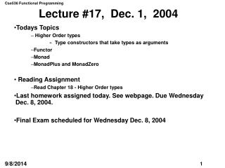 Lecture #17,  Dec. 1,  2004