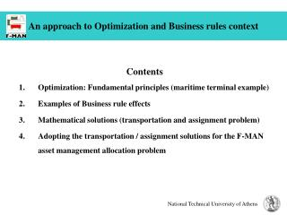 An approach to Optimization and Business rules context