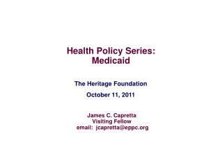 The Heritage Foundation October 11, 2011