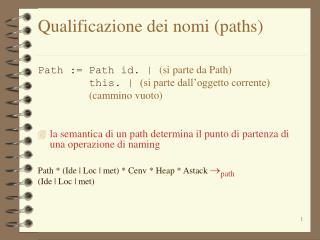 Qualificazione dei nomi (paths)
