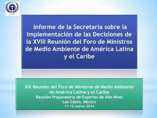 XIX Reunión del Foro de Ministros de Medio Ambiente  de América Latina y el Caribe