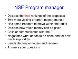 NSF Program manager