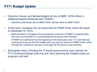 FY11 Budget Update