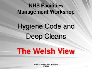 NHS Facilities  Management Workshop