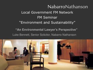 "Local Government FM Network FM Seminar ""Environment and Sustainability"""