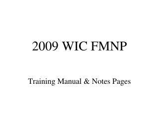 2009 WIC FMNP